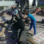 Начало бетонирования плиты