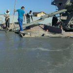 В процессе бетонирования плиты
